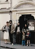93. Front of  Vajda Studio with Katalin Balogh and Bukta family,Szentendre, Hungary, 1985